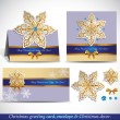 Christmas Greeting Card with envelope and decor. — Vector de stock  #34984453