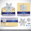 Christmas Greeting Card with envelope and decor. — Vector de stock