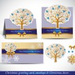 Christmas Greeting Card with envelope and decor. — Vector de stock #34984477