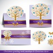 Christmas Greeting Card with envelope and decor. — Vector de stock  #34984493