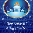 Merry Christmas card with church — Vector de stock #34984515