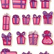 Stock Vector: Set of nice gifts of pink and maroon color.