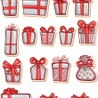 Set of nice gifts of red and white color — Vektorgrafik