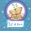 Let it snow. Greeting card with two cute bears. — Stock Vector
