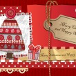 Scrapbook Christmas greeting card. — Stock Vector