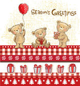 Cute bears, seasons greetings. — Stock Vector