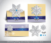 Christmas Greeting Card with envelope and decor. — Stok Vektör
