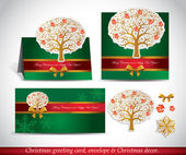 Christmas Greeting Card with envelope and decor. — Vettoriale Stock