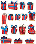 Set of nice gifts of red and blue color. — Stock Vector