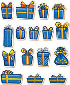 Set of nice gifts of blue and yellow color. — Stock Vector