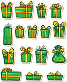 Set of nice gifts of green color. Vector illustration. — Stock Vector