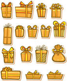 Set of nice gifts of yellow color. — Stock Vector