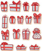 Set of nice gifts of red and white color — Stock Vector