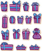 Set of nice gifts of violet and blue color. — Stock Vector