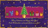 Christmas gratulationskort med julgran och julklappar. — Stockvektor