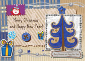 Scrapbook Christmas greeting card. Vector illustration. — Stok Vektör