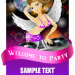 Beautiful DJ girl on decks on the party — Stock Vector
