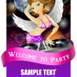Beautiful DJ girl on decks on the party — 图库矢量图片