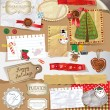 Christmas decoration collection for scrapbook style. — Stock Vector
