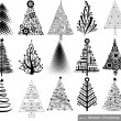 Set of Modern hi-tech Christmas Trees. — Image vectorielle