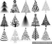 Conjunto de árboles de navidad de alta tecnología moderna. — Vector de stock