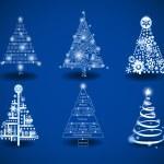Hi-tech and programing theme Christmas trees — Stock Vector