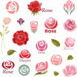 Set of rose flower design elements — Stock Vector