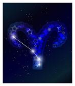 Yıldızlı gökyüzü üzerinde astroloji ve burç takımyıldızı — Stok Vektör