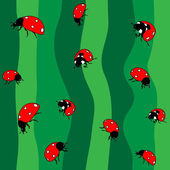 Ladybugs on green. Seamless — Stock Vector