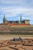 Kronborg Castle and replica model — Stock Photo