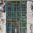 Barred Window Santorini — Stock Photo