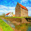 Glimmingehus Castle Painting — Foto Stock