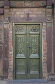 Zelené dveře ystadu — Stock fotografie