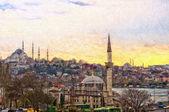 Istanbul stadtbild digitale malerei — Stockfoto