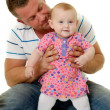 Stock Photo: Smiling father and baby