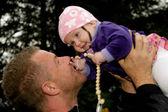 Happy baby och far — Stockfoto