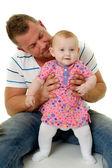 Souriant père et bébé — Photo