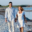 Young couple walking on beach — Stock Photo #13187709