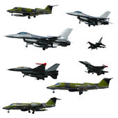 War plane collection isolated on a white background. High resolu — Stock Photo