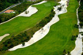 Flying over golf course — Stock Photo
