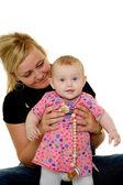 Moeder en baby zijn glimlachen — Stockfoto