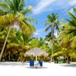Paradise beach with palms and sunbeds — Stock Photo #41433713