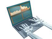 Robot trading — Stock Photo