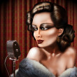 Vintage female singer - Stock Photo