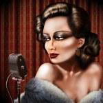 Vintage female singer — Stock Photo #17413059