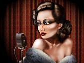 Vintage female singer — Stock Photo