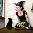 Witch with her familiar - Stockfoto