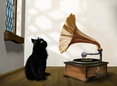 Cat with gramophone — Stock Photo