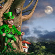 Leprechaun at night — 图库照片