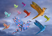 Origami Bird Dreamscape — Stock Photo